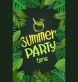 summer party time composition with green tropical vector image vector image