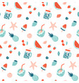 summer seamless pattern fruits and cocktails vector image