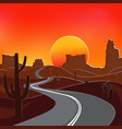 the road in the desert at sunset vector image