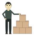 unloading of goods cartoon character vector image vector image