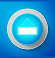 white signboard icon isolated on blue background vector image