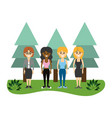 women friends together with pine trees vector image vector image