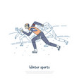 young sportsman on ice track professional vector image
