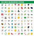 100 seo business icons set cartoon style vector image vector image