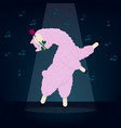 a dancing lama with a rose in her teeth vector image
