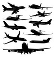 air plane aircraft jet silhouettes vector image vector image