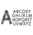 alphabet letters made from motorcycle tire tracks vector image vector image