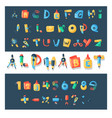 alphabet stationery letters abc font vector image
