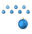blue christmas balls set holiday decorative vector image vector image