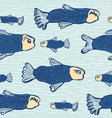 blue shoal of fish seamless seaweed animal vector image