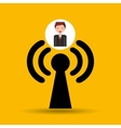cartoon man connected wifi vector image vector image