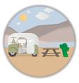 cartoon outdoor camping in desert vector image vector image
