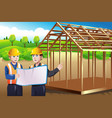 construction worker discussing blueprint vector image