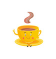 cup of hot drink cartoon character sitting on vector image