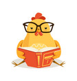 cute cartoon chick bird sitting and reading a book vector image vector image