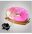 Donut with pink glazed vector image vector image