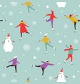 drawing people skating on ice rink vector image