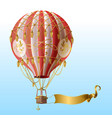 flying hot air balloon with vintage decor vector image