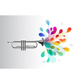Gold trumpet with abstract colorful flowers on vector image