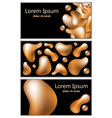 golden fluid shapes on black background vector image