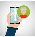hand holds mobile older man application travel vector image vector image