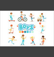 happy boys and their expected classic behavior vector image vector image
