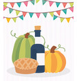 happy thanksgiving day wine apple cake pumpkins vector image vector image