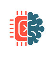 human brain with chip colored icon artificial vector image