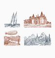 landscape with a royal castle in meadow vector image vector image