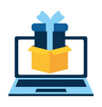 laptop with gift present vector image vector image