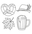 line art black and white oktoberfest elements set vector image