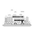 line building and urban london bus in the city vector image vector image