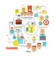 linear teamwork business strategy concept vector image