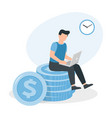 man sitting on a big pile coins working at the vector image