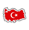 map of turkey with its flag vector image vector image