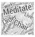 meditation chair Word Cloud Concept vector image vector image