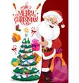 merry christmas postcard santa claus anf gifts vector image