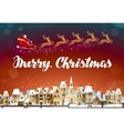 Merry Christmas Santa Claus in sleigh flying over vector image vector image
