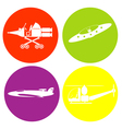 monochrome icon set with flying object vector image vector image