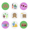 nine color flat icon set - wine production vector image vector image