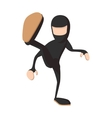 Ninja kicking cartoon icon vector image vector image
