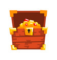 opened wooden chest with treasures full golden vector image vector image