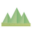origami paper mountains grass nature landscape vector image