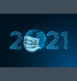 pandemic new year digital web banner with glowing vector image vector image