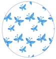 Pattern with blue butterflies watercolor vector image vector image