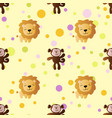 pattern with cartoon cute toy baby monkey and lion vector image vector image