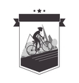 person riding bike with helmet emblem icon vector image