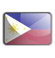 philippines flag on white background vector image vector image