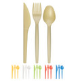 plastic cutlery realistic 3d icon vector image vector image