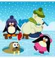 polar bear walrus penguin on rink vector image